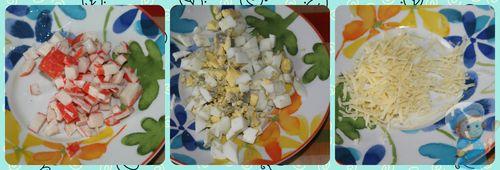 Нарезаем крабовые палочки, яйца