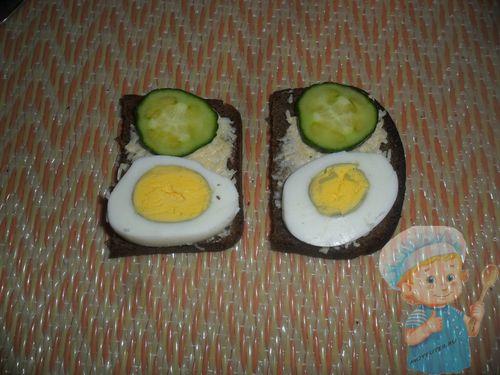 Слой огурца и яйца