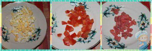 Нарезаем яйца, помидор, рыбу