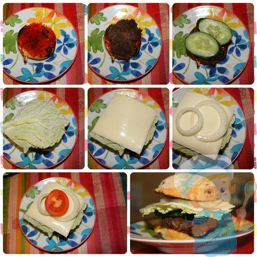 Этапы сборки гамбургера