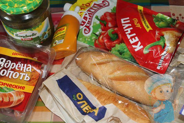 Ингредиенты для французского хот дога