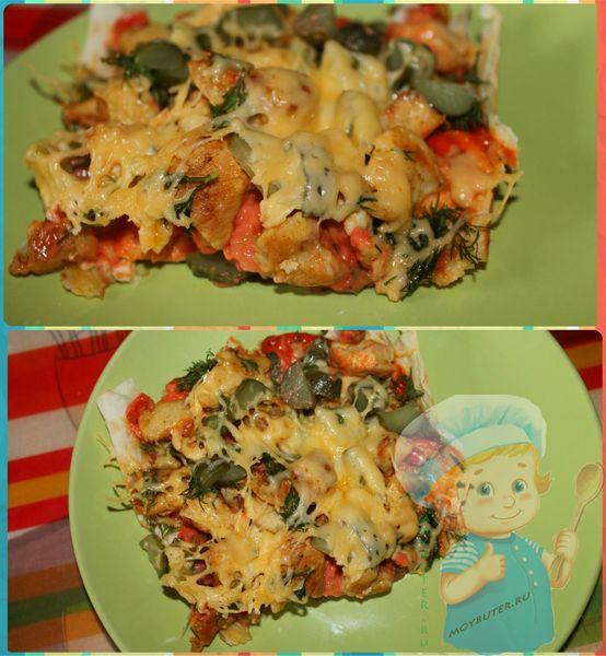 Кусочки пиццы на лаваше