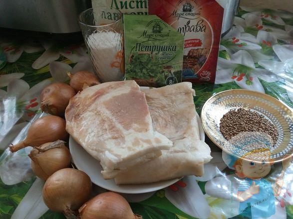 ингредиенты для приготовления сала