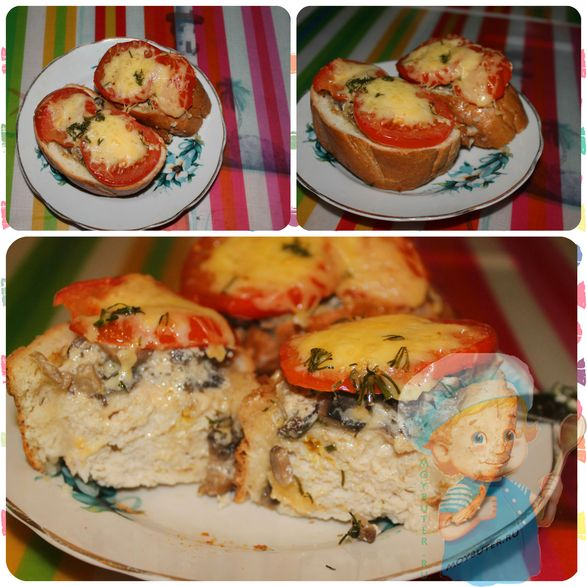 Багет с грибами и курицей