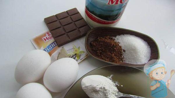 ингредиенты для сладких шоколадных тарталеток