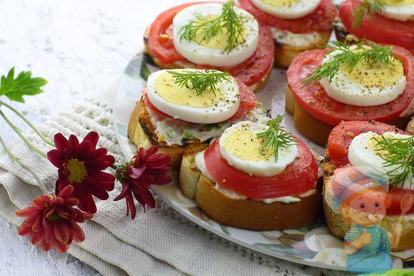 Бутерброды с яйцом и помидорами рецепт красивой закуски