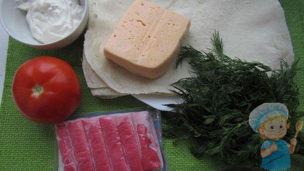продукты для крабового лаваша